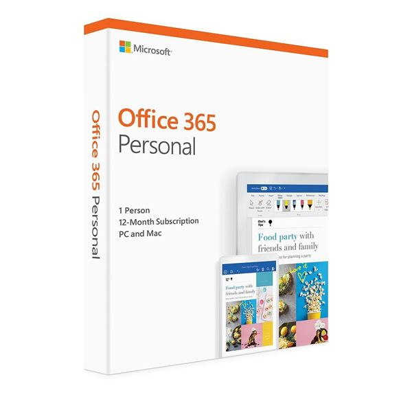 Office 365 Personal<br>Word Excel PowerPoint Access<br>OneNote Outlook Publisher<br>1 Year Subscription<br>1 User