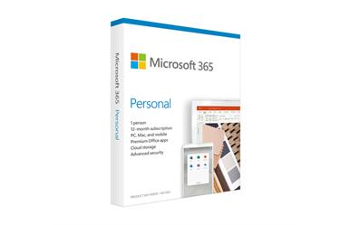 Microsoft 365 Personal<br>Word Excel PowerPoint Access<br>OneNote Outlook Publisher<br>1 Year Subscription<br>1 User
